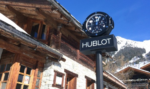 DOUBLE-SIDED CLOCK IN VERBIER. SWITZERLAND.
