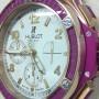 Clock with reproduction of precious gemstones